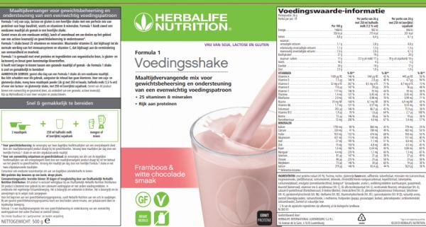 Formula 1 Vrij Van Voedingsshake Framboos & witte chocolade